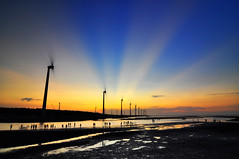 (Vincent_Ting) Tags: sunset sky water windmill silhouette clouds niceshot taiwan windmills  formosa   windturbine wetland  windturbines        formose