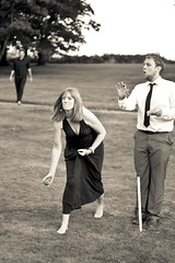 Underarm bowling (Caption Contest?) (s0ulsurfing) Tags: family wedding party two people blackandwhite bw woman monochrome smile face canon vintage happy mono bride married dress faces expression candid marriage happiness august retro cricket celebration isleofwight bowling 7d weddingdress celebrate humans wight underarm 2011 s0ulsurfing lorettamitchell appledurcombehouse grahamgosden