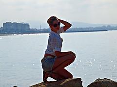 Mallorca Model (Andy von der Wurm) Tags: sea woman beach girl female islands spain model mediterranean view harbour teen aussicht frau hafen mallorca spanien balearen palmademallorca balearic inseln mittelmeer twen bayofpalma hobbyphotograph badiadepalma andreasfucke