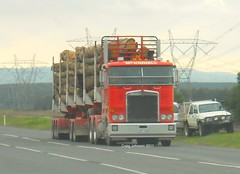 photo by secret squirrel (secret squirrel6) Tags: red motion lines moving cabin long timber logging powerlines bumper badge beast logger trailer grille loaded lanes gippsland kenworth emblems cabover logtruck flatroof mckinnell ruralaustralia bdouble morwell triaxle roundtanks bogiedrive secretsquirrel6truckphotos
