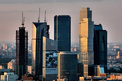 City (Serge Freeman) Tags: city architecture buildings evening construction cityscape skyscrapers russia moscow aerial