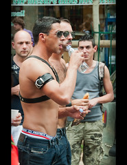Quenching thirst (Stuart-Lee) Tags: street gay man paris france march parade gaypride sagger marchedesfiertes waistband parisgaypride2011