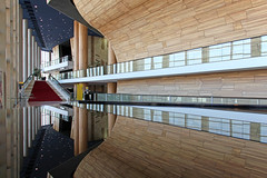 Inside the Palace of Arts 15 (Romeodesign) Tags: wood windows glass lines architecture stairs reflections mirror hungary geometry interior balcony budapest arts piano palace 550d palaceofarts palotja mpa mvszetek gettyhungary1