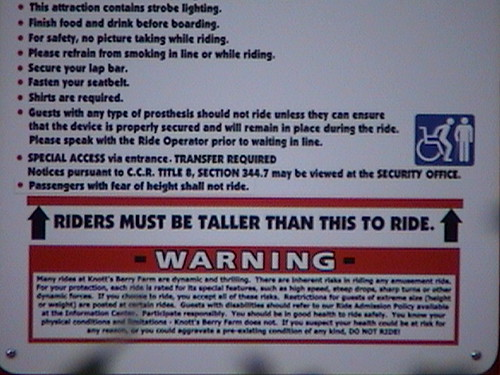 WindSeeker Safety Guide, sign detail, Fiesta Village, Knott's Berry Farm, Buena Park, CA, 2011.08.17 19:38, dsc00013c