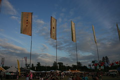 Yellow flags, blue sky