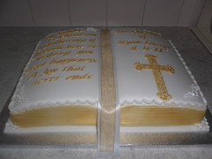 christening gold book cake (Sprinkled With Love cupcakes by lizzie sprinkledwi) Tags: birthday wedding cakes cake gold book yahoo google cross masks lizzies ribbon flikr bing harlequin christeningcake birrthday ediblegold bookcake biblecake fondantcross lizziescakes