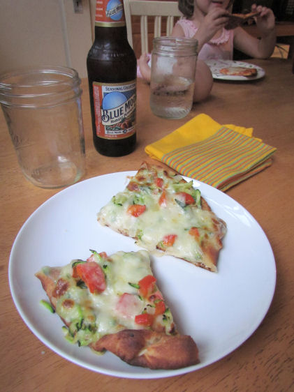 Veggie Naan Pizza and Beer for Dinner