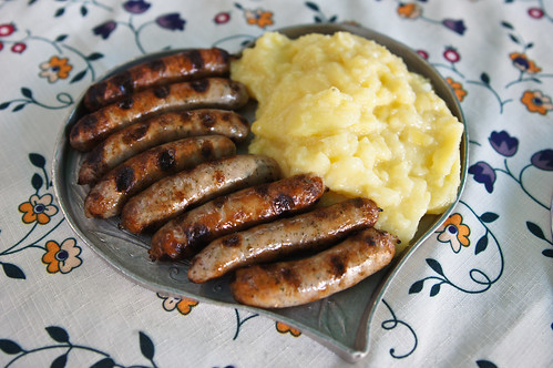 Sausages (wursts) with potato salad.