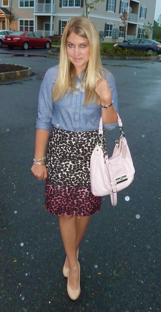 ombre pencil skirt work outfit
