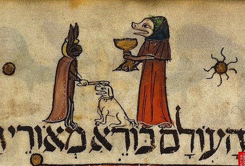 Pig like figure lifting the first cup of wine and hare placing a stick on dog's head.  Spain (Barcelona) c. 1340. Add 14761 BL by tony harrison