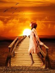 You could love me or not (iiManipulate) Tags: bridge sunset sky orange woman girl birds clouds flying photo model dream manipulation
