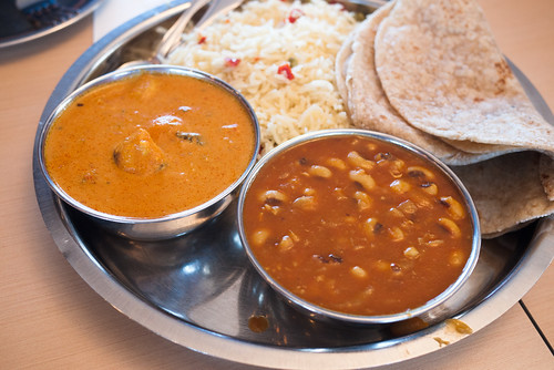 Combo #4 (Black-Eyed Pea Curry, Butter Chicken, Roti & Basmati Rice) @ Tiffin