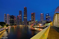 Boat Quay, Singapore. (Reggie Wan) Tags: tourism skyline architecture night evening singapore asia southeastasia cityscape bluehour boatquay singaporeriver moderncity asiancity sonya700 sonyalpha700 reggiewan gettyimagessingaporeq1