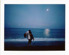 . (Da✞a) Tags: sea moon beach night polaroid taiwan explore hualien 花蓮 海邊 instantfilm 夢夢 拍立得 月光 explored 場景 fujifilmfp100c 小誠 演戲 konicainstantpress
