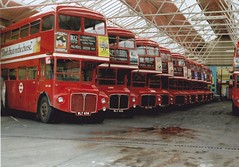 RMs at Palmers Green Garage 1.6.80 (busmothy) Tags: routemaster palmersgreengarage 102 29 298a aec wlt656 wlt405 wlt448 428clt 131clt wlt615 wlt859 570clt alm200b vlt48 ald980b rm2000 parkroyal ad 254102 rm busgarage londontransport 397029418