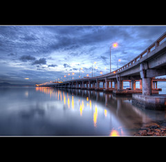 Penang Bridge - Saturday's Morning Aura [EXPLORED] (eternal_ag0ny) Tags: morning bridge light sunset cloud reflection nikon long exposure tokina malaysia penang hdr pulau pinang 1116mm d300s