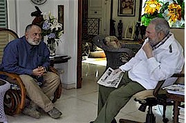 Cuban revolutionary Fidel Castro and journalist Mario Silva hold discussions in Cuba. Castro was the leader of the Cuban Revolution in 1959 and beyond. by Pan-African News Wire File Photos