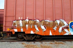 HAIRY (KNOWLEDGE IS KING_) Tags: railroad hairy color art yard train bench one graffiti paint panel tracks railway socal railcar crew hundred 100 boxcar piece burner bomb railfan freight fill percent kcs in rollingstock paintedsteel