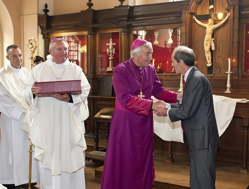 CTS General Secretary Mr Fergal Martin presents the Missal to the archbishop of Westminster Vincent Nichols earlier this year
