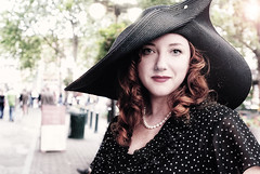 Amber with 1940s Hat - Downtown Seattle (Christian Carroll Photography) Tags: seattle portrait people woman classic girl beautiful hat fashion female vintage clothing downtown antique 1940 pearls retro redhead nostalgia 1940s polkadot oldfashioned elegance