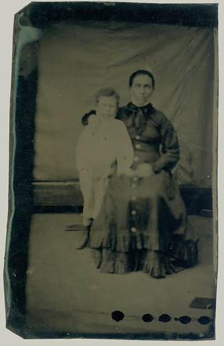 Tintype woman and child
