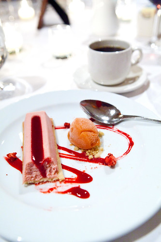 Strawberry Cheesecake with strawberry rhubarb sorbet