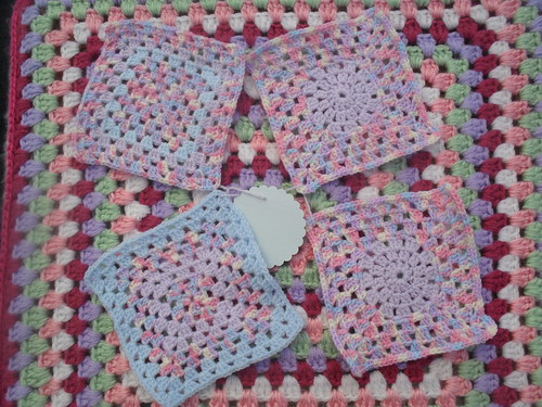 Four variegated Squares, such a pretty yarn!