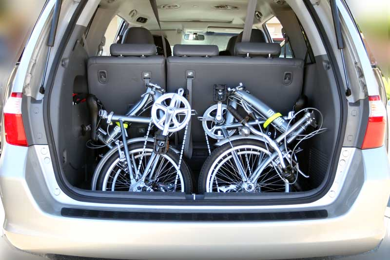 Two Mobic Folding Bikes in the back of Honda Odyssey
