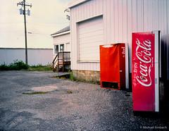 close happiness (Mike Ambach) Tags: urban film analog mediumformat alley industrial coke rangefinder common brand plain urbanism mundane banal 120mm eggleston fujiga645zi contemporarylandscape fujirvp100
