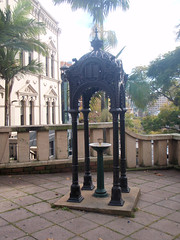 Drinking fountain with an intricate cast iron shelter, stands out for thirsty folk (ashroc) Tags: metal iron decorative sydney australia nsw castiron drinkingfountain 1870 canopieddrinkingfountain