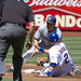 Justin Turner steals second base