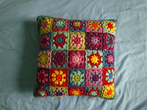 Summer Garden Crochet Cushion - Side 2 by Little Tin Bird