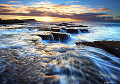 Stand in the Flow (Ben Cue) Tags: water lines sunrise newcastle flow waterfall rocks wave australia nsw newsouthwales rockshelf