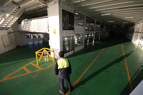 Empty car deck of the MV Sorrento