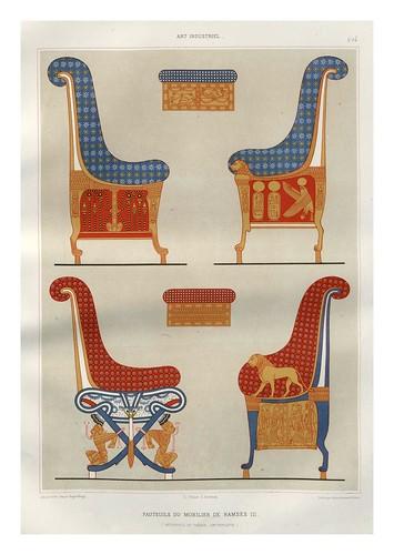 021-Sillas del mobiliario de Ramses III-Tebas dinastia XX-Histoire de l'art égyptien 1878- Achille Constant Théodore Émile