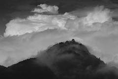 Gifu castle, the fortress of Mino (StephenCairns) Tags: blackandwhite bw mist mountain castle rain japan clouds hill  f8  rainclouds gifucastle    japanesecastle   canon50d 70200mmf4isusm