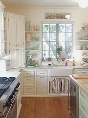Kitchen envy...love the farmhouse sink & jadite green touches. (eg2006) Tags: white inspiration cute green kitchen beautiful vintage cozy beige pretty floor feminine pastel country cottage cream retro depression pottery romantic dreamy chic jadite reproduction hardwood 2012 shabby kitchenaidmixer jadeite 2011 farmhousesink glassknobs