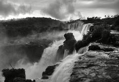 Iguaz/Iguau Falls (omblod) Tags: blackandwhite argentina rain clouds river waterfall nikon rocks monotone falls jungle tropical cataratas misiones iguaz iguau d80 omblod