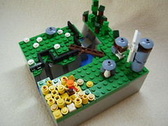 The medieval farm (Rinse-) Tags: house water windmill forest sheep lego farm scarecrow medieval creation ravine brigde grainfield microscale