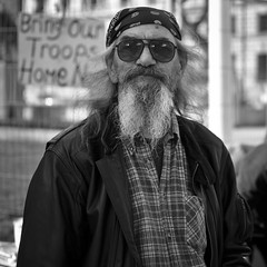 Trooper (SPIngram) Tags: pictures street city uk portrait england people blackandwhite bw man men london blanco westminster thames portraits beard soldier army mono photo nikon britain political protest parliament nb demonstration explore photograph londres metropolis british londra blanc metropolitan 500x500 explored simoningram d300s spingram streetphotographycandidstreetportrait