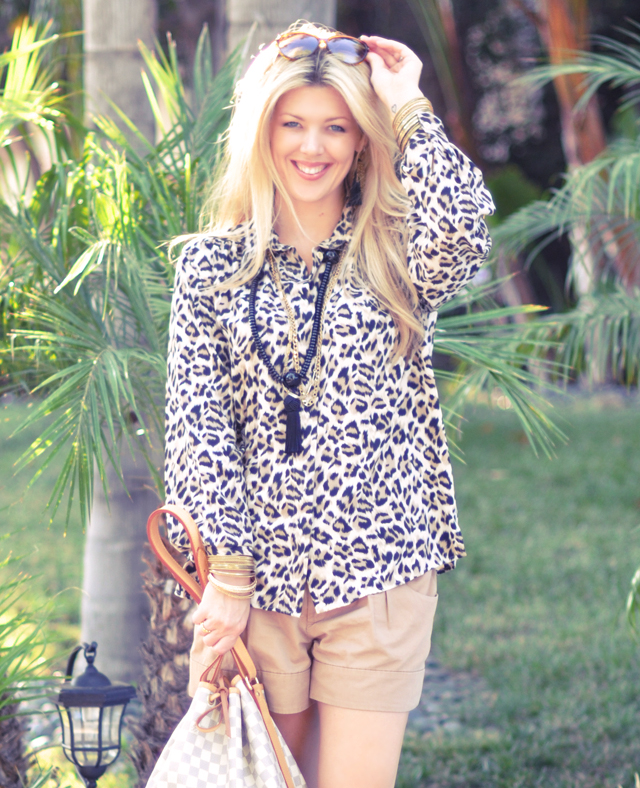 leopard blouse and shorts