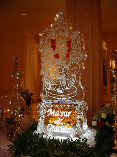 Ganesh Snowfilled on a custom pedestal ice sculpture