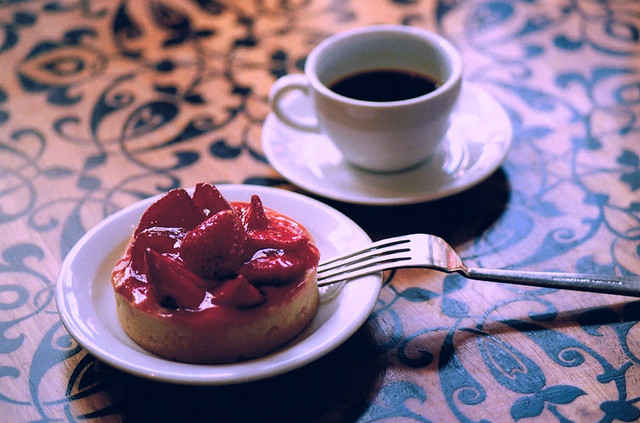 strawberry tart + espresso
