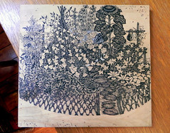 Garden woodcut // In Progress! (Tugboat Printshop) Tags: printmaking urbangarden woodblockprint woodcutprint woodblockprinting woodcutart tugboatprintshop woodblockart traditionalprintmaking valerielueth gardenprint traditionalwoodcut tugboatprintshoppittsburgh tugboatprintshopwoodcut gardenwoodcut woodcutartists processwoodcut drawingonwoodblocks