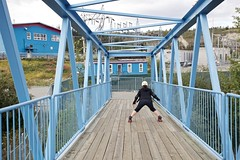 Slowing down (qousqous) Tags: bridge motion fun exercise footbridge path ashley skating rollerskates trail yukon plow whitehorse rollerskating passerelle mup ef1740mmf4lusm multiusepath millenniumtrail rotarycentennialbridge