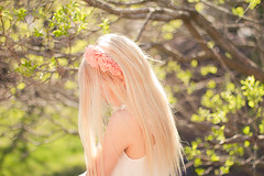in the spring (Shandi-lee) Tags: pink trees light summer sun sunlight flower tree green nature floral girl leaves fashion canon hair 50mm spring alone bright skin pastel 14 longhair peach naturallight fresh pale 7d blonde buds lookingdown headband accessory hiddenface shandilee