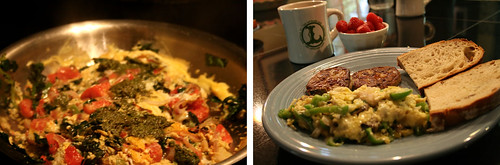 Breakfast eggs with pesto