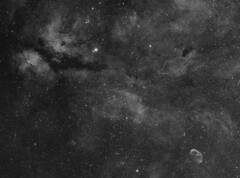 Sadr region of Cygnus in Halpha (Astro Gabe) Tags: butterfly star gas astronomy sadr cygnus refractor halpha narrowband crescentnebula pixinsight gammacygni butterflynebula Astrometrydotnet:status=solved orionatlas atlaseqg Astrometrydotnet:version=14400 at2ff at65edq starfishfishcamp at106 sbigst8300m Astrometrydotnet:id=alpha20110930335570