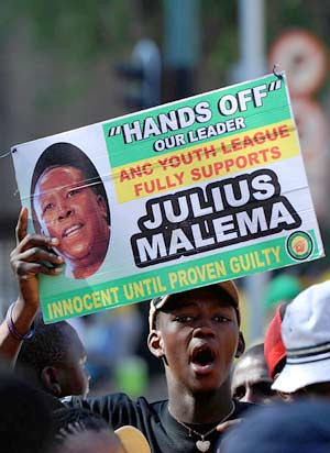 Members of the African National Congress Youth League (ANCYL) demonstrated outside the ANC parent body's disciplinary hearing against president Julius Malema. The meeting has generated anger among the youth. by Pan-African News Wire File Photos