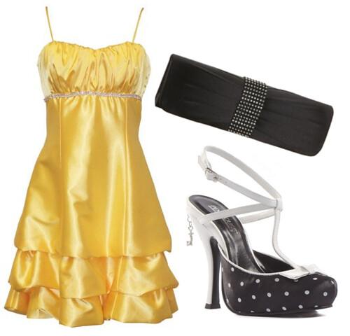 yellow dress and shoes ensemble